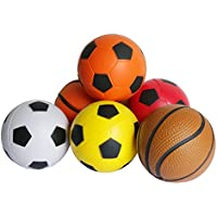 Soft Ball Toy Mini Foam Basketball Soccer Football Softball Ball Game Boy Girl Party Fun Sports Play Stress Squeeze Balls Toy Birthday Present for Kids Toddlers - Pack of 6