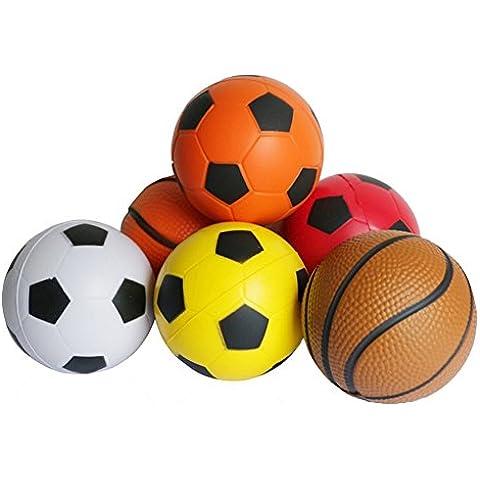 6 Piezas Mini Espuma Baloncesto Fútbol Softbol de Conjunto Partido de la Bola del Juego Deportes Estrés Exprimir de las Bolas de Juguete para