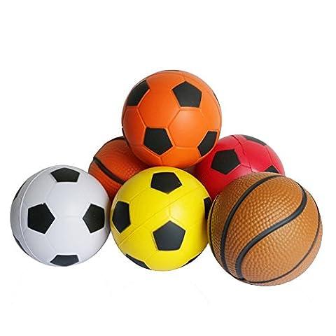 6 Pcs Mini Balles de Mousse Basketball Soccer Ball Peitits Ballons Jouet pour Bebe (2 Spugna Palle)