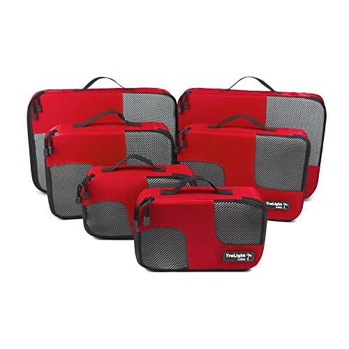 TraLight ® Packing Cubes | Packwürfel | Packtaschen | Kleidertaschen für Koffer, Reisetasche, Handgepäck, Rucksack, Sporttasche | 6 teiliges Set (Rot) -