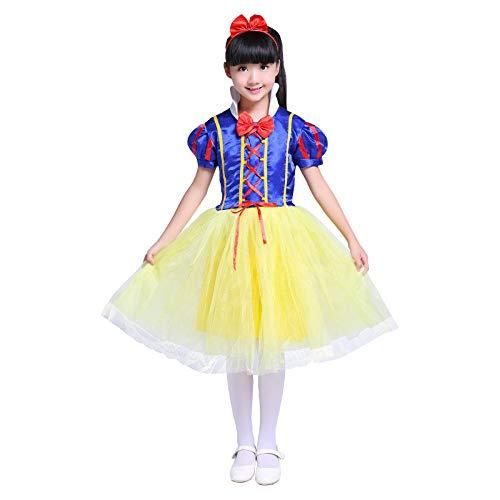 WSJYP Weihnachtskostüm Mädchen Schnee Prinzessin Kleid Kinder Prinzessin Kleid Flauschiger Rock Cinderella,SnowWhite-120cm