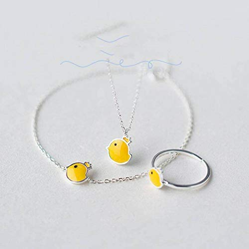eibliche S925 Silber Niedliche Krone Kleines Gelbes Huhn Halskette Armband Ring Set, Suit ()