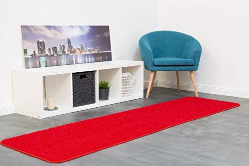 misento 292115 Langflor / Hochflorteppich Shaggy Läufer einfarbig weicher Flor Brücke uni, 67 x 250 cm, rot