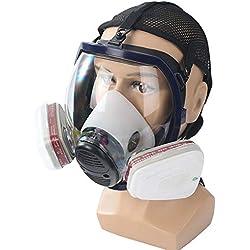 Umiwe Máscara Antigás Respirador, Máscara De Gas De Cara Completa con Protección De Visera, Filtro De Carbón Activado, Respiradores para Mascarillas De Seguridad para Pintura, Polvo, Vapor Orgánico