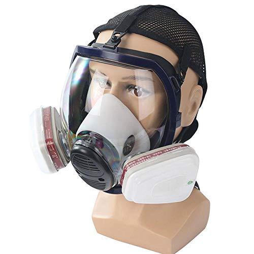 FOONEE Maschere Antipolvere a Pieno facciale e respiratori con Testina Regolabile, Cartuccia Doppio Filtro Riutilizzabile Protezione Anti-Virus con Maschera Anti-Virus a Carboni Attivi