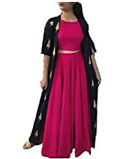 Md Textiles Rayon Kurti Skirt with Shrug For Girls, Women, Ladies Golden and Pink