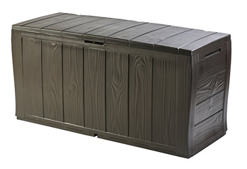 Keter Sherwood Outdoor Plastic Storage Box Garden Furniture, 117 x 45 x 57.5 cm – Brown