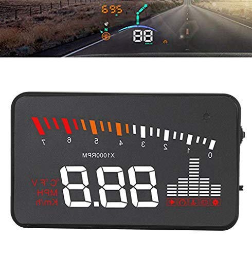 Universal Hud Auto Head-Up Display,Windschutzscheibe Geschwindigkeit Projektor,Fahrgeschwindigkeit, Motordrehzahl, Wassertemperatur, Spannung Sicherheit Alarm,automatische Helligkeitsanpassung