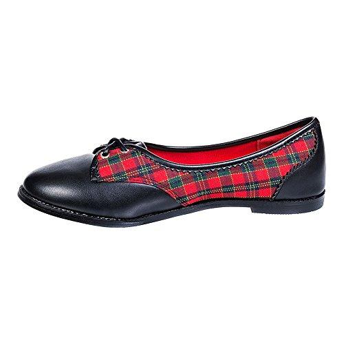 Banned Kendra Flache Schuhe (Schwarz/Rot) Schwarz