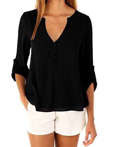365-Shopping Damen Blusen Sommer V-Ausschnitt Langarm Lose Chiffon Blusen T-Shirt Tops