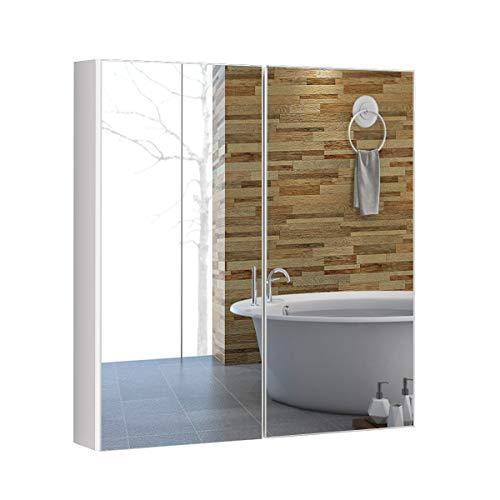 COSTWAY Armario de Baño Mueble con Espejo de Pared con 2 Puertas 2 Estante Gabinete de Almacenamiento...