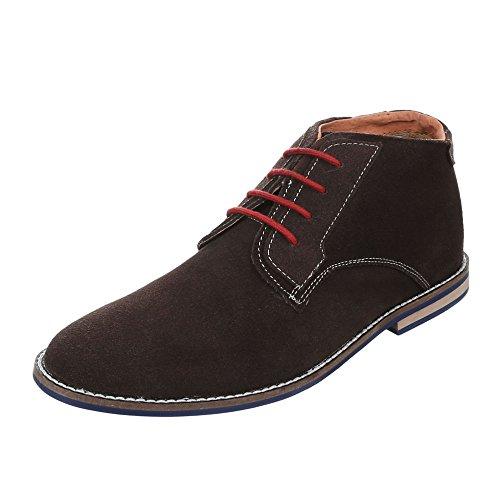 Herren Leder Schuhe Blockabsatz Oxford Schnürsenkel Schnürschuhe Halbschuhe Blockabsatz Ital-Design Braun
