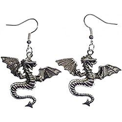 Dragón dragón Miniblings FANTASY pendientes de plata fina de gusano Dino