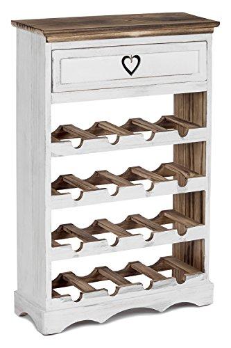 ts-ideen Weinregal für 16 Flaschen mit Schublade Flaschenregal Weiß Braun Holz Shabby