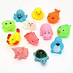 Cablage™ Non-Toxic Soft chu chu Toys Set for Baby Bath Toys Toddler (Chu Chu Toys Set of 12)