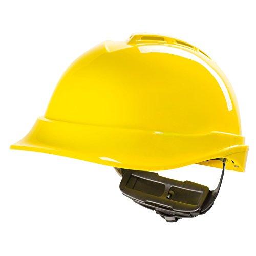 Casco per Lavoratori Edili MSA V-Gard 200 con Ventilazione e Regolazione a Rotella FasTrack - Casco da Lavoro, Casco di Protezione, Casco per Cantiere, Colore: Giallo