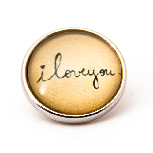 sekka jewelry® Click-Button mit Handschrift I LOVE YOU - NF6020