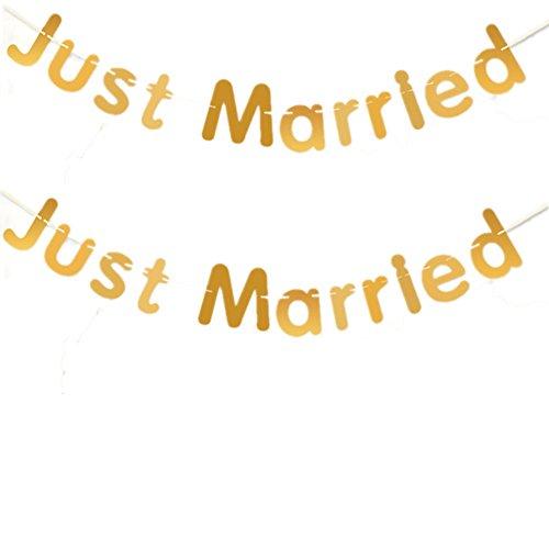 Fully 2stk. Just Married Schrift String Girlande Kinder Party Hochzeit Feier Dekoration (Just Married (gold))