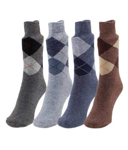 PINKIT Men's Woollen Thick Terry Argyle Patterned Cushioned Socks - Woollen Angoora Formal Socks - Pack of 3 Pairs (Any 3 Pairs)