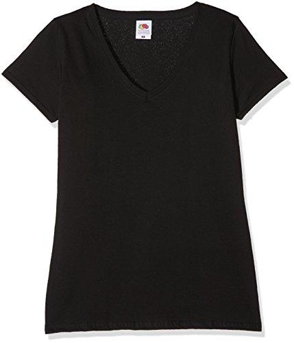 Baumwolle Damen V-neck T-shirts (Fruit of the Loom Damen Regular Fit T-Shirt Valueweight V neck Lady-fit 3 Pack, 3er Pack, Schwarz (Black), 40 (Herstellergröße: M/12))