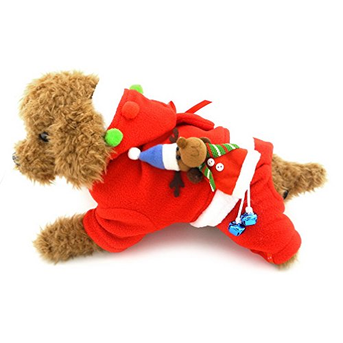 ranphy Pet Kleine Hunde Weihnachten Kostüme Mantel Outfits Jumpsuit Welpen Hund Kleidung mit Kapuze rot