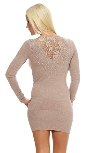 Fashion4Young - Robe - Taille empire - Femme bleu Schwarz XS=36 Gris