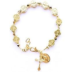 Rana Jabero Doré Cristal Swarovski Médaille miraculeuse Croix Charm Bracelet religieux par Rana Jabero