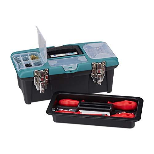 ffer leer, mit Tragegriff, Kunststoff, abschließbar, Werkzeugkasten, HBT 13 x 33 x 18 cm, schwarz-grün ()