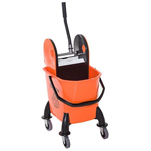Homcom carrello delle pulizie professionale capacità 26l strizzatore rimovibile con ruote 44 × 36 × 90cm