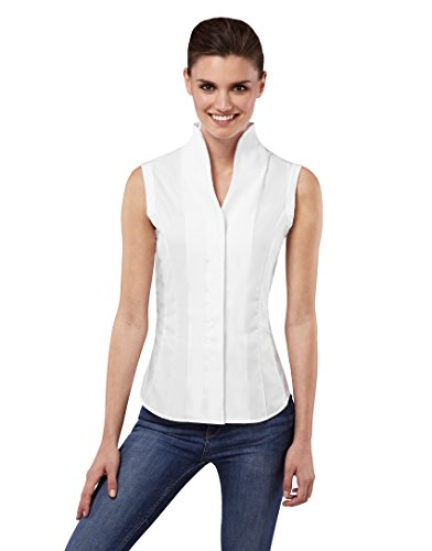 Vincenzo Boretti Women's Blouse Modern-fit 100% Cotton Non-Iron Cup-Collar Sleeveless Plain Colour Nice Elegant Ladies Fashion Design for Office Work, Formal and Casual Events