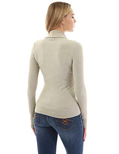 PattyBoutik Donne maglione pullover manica lunga crossover Beige chiaro