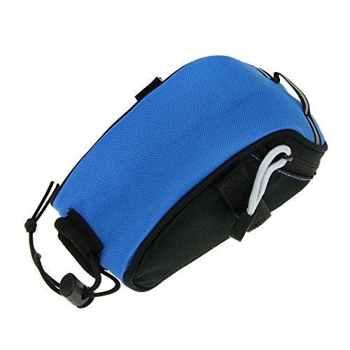 FakeFace Unisex Fahrradtasche Satteltasche Radtasche aus Canvas Werkzeugtasche für Radfahren Radsport Mountainbike (Schwarz) Lake Blue