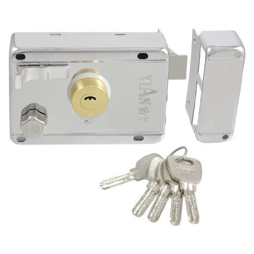 Silver Tone Metal Left Hand Deadbolt Rim Night Latch Door Lock Set w 5 Keys
