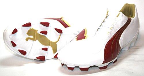 Puma  V5.08 Big Cat I FG, Chaussures de foot pour homme Blanc Blanc Blanc - White-Rio Red-Team Gold