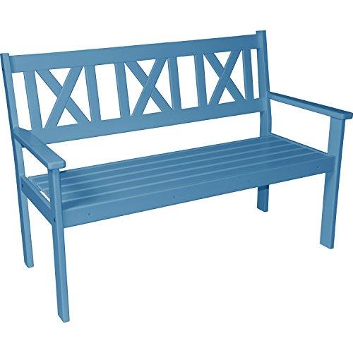 Gartenbank Parkbank Sitzbank Bank 3 Sitzer Kiefernholz blau lackiert 129 cm