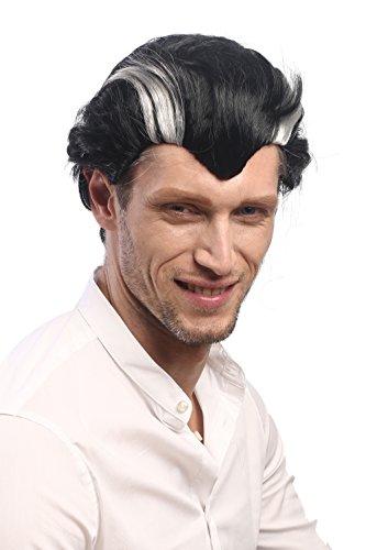 WIG ME UP ® - XH-820-ZA103-ZA68A Parrucca Uomo Carnevale Halloween Corta Nero Grigio Ciocche Stempiature Vampiro Dracula