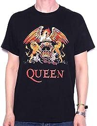 Queen hombre Crest Logo Camiseta Large Negro