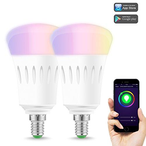 LOHAS E14 LED Dimmbar Smart Glühbirnen, 9W A60 WLAN Lampen, RGB + Tageslichtweiß, Kompatibel mit Amazon Alexa, Google Home & IFTTT, Fernbedienung von Smartphone IOS & Android, 60W Ersatz Lampe, 2er