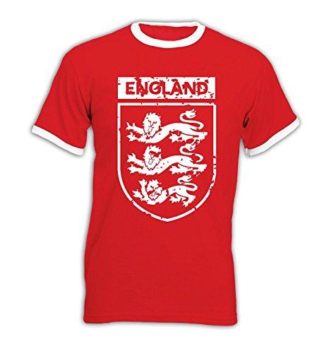 EM 2016 - England - Wappen - Vintage - Ringer Herren T-Shirt - Rot/Weiss Gr. M -