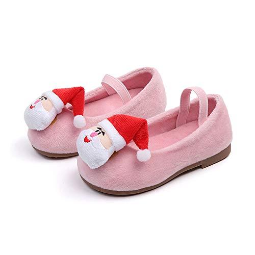 Beladla Scarpe da Ragazza con Babbo Natale più Scarpa da Principessa Danza in Velluto Bambina Cerimonia Festa Calda Invernale di Natale del Pattino Calzature Sportive