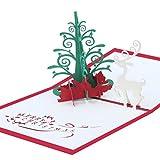 XINGUANG Papier, Das Hohle Postkarte Segnet Kleine Karte Weihnachtsrotwild 3D Stereoweihnachtskarte Weihnachtskarte