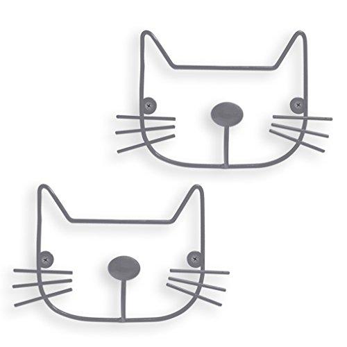 Balvi Colgador pared The Cat Color gris Set de 2 colgadores Con forma de cabeza de gato HierroCONTENIDO: 2 colgadores de hierro con forma de cabeza de animal. Tornillos incluidosORIGINAL. El gancho es la nariz y los ojos son las arandelas para fijarl...