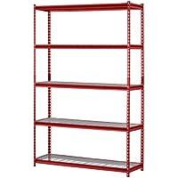 Muscle Rack ur184872-r 5-Shelf Stahl Regal, 121,9cm Breite x 182,9cm Höhe x 45,7cm Länge, Rot