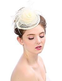 ZYCC Fascinator de Mariage Chapeau Pillbox Pince à Cheveux en Plume Fête Église Derby Day
