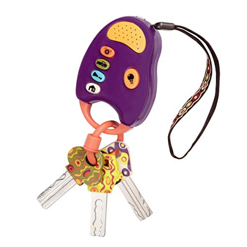 B. toys - FunKeys Toy - Funky Toy Keys for Toddlers and Babies - Toy Car Keys on a Keychain with Light and Sounds -100% Non-Toxic and BPA-Free