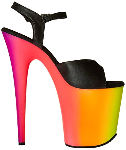 Pleaser RAINBOW-809UV, Damen Plateau Sandalen Blk Faux Leather/Neon Multi