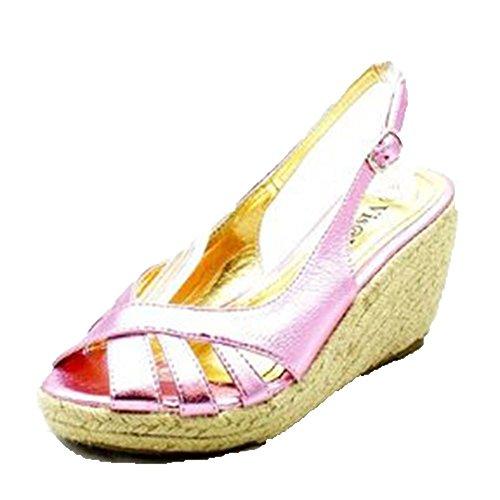 sendit4me Ladies Peep Toe, Sandali con Tacco a Zeppa/Scarpe Pink