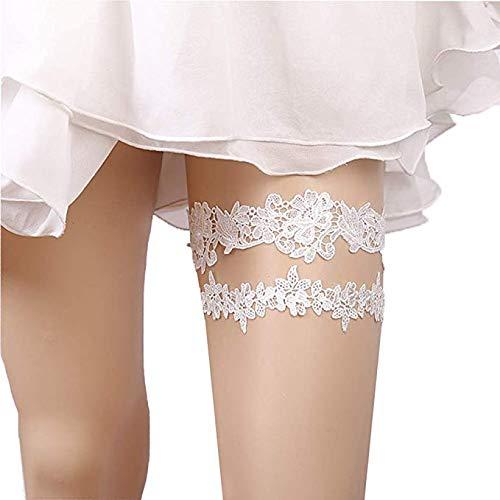 2 pz giarrettiera sposa bianca pizzo a forma di fiore con foglia per addio al nubilato matrimoni (bianca)