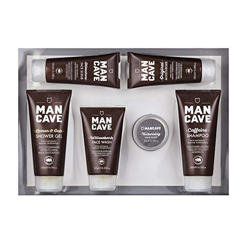 ManCave Survival Gift Set – 6 Natural Grooming Essentials – For Men