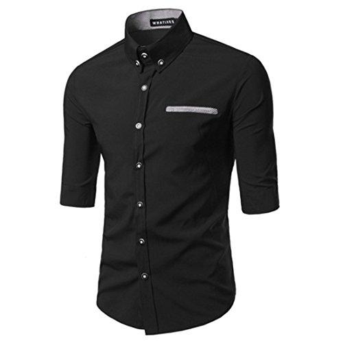Men's Fashion Middle Sleeved Slim Fit Shirts Black